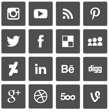 social mediicons set vector design