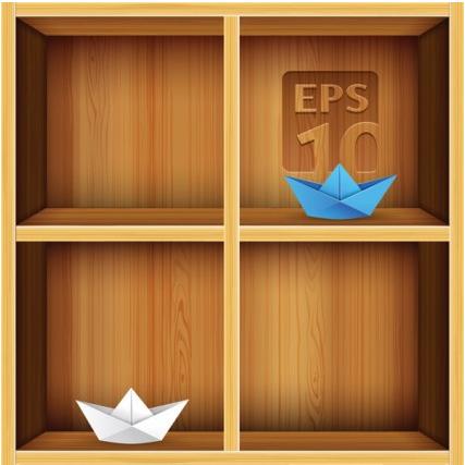 solid wood bookshelves 2 vector
