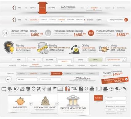 sophisticated web design elements 02 vectors graphics
