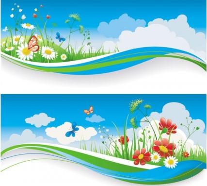 spring banner 01 vector