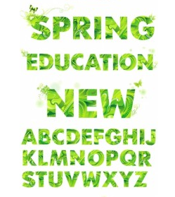 spring green letters vector
