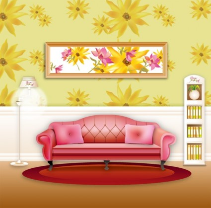 stylish wallpaper home living room sof vector material