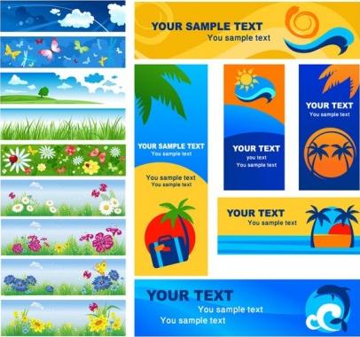 summer banner vector set