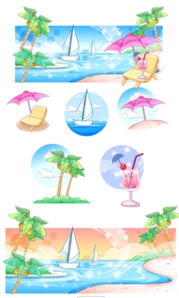 summer style handdrawn style series 3 vector