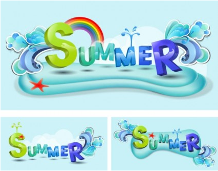summer theme font design vector