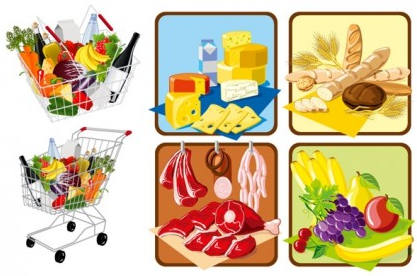 supermarket shopping theme vector material
