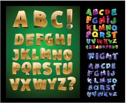 threedimensional letters vectors graphic