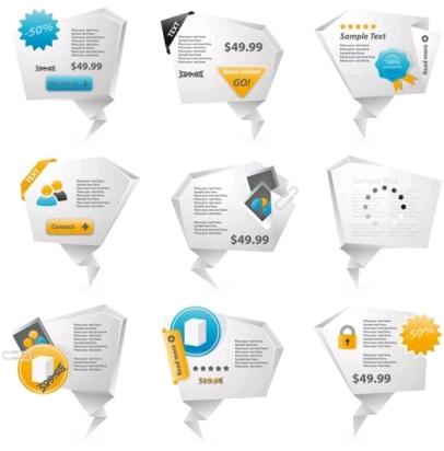 threedimensional origami icon 02 vectors