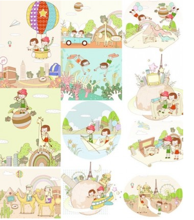 travel theme fantasy children drawings vectors graphics