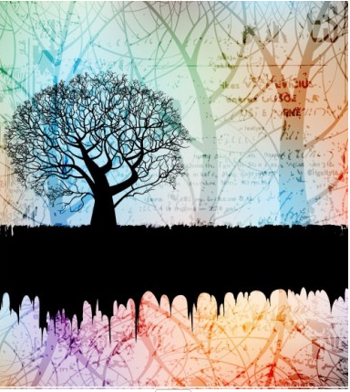 tree silhouette background 01 vector
