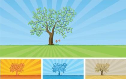 trees and grass design vectors
