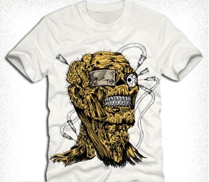 tshirt design with demon man Free vector graphic