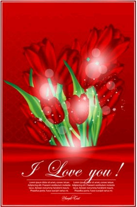 valentine day greeting card 01 vector