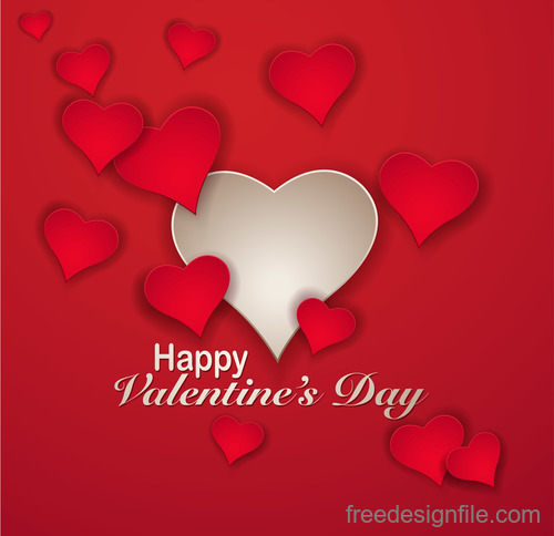 valentines greeting card red template vector