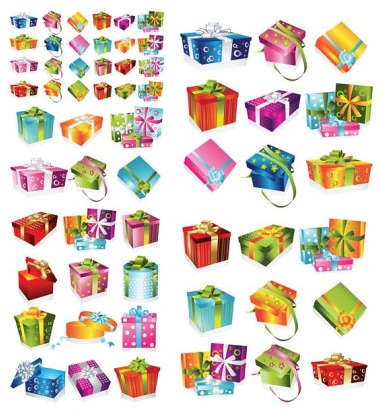variety exquisite gift box vector