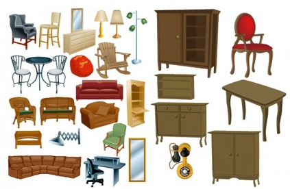 Variety furniture clip art vector