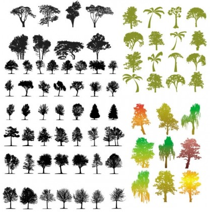 variety trees silhouette vectors material