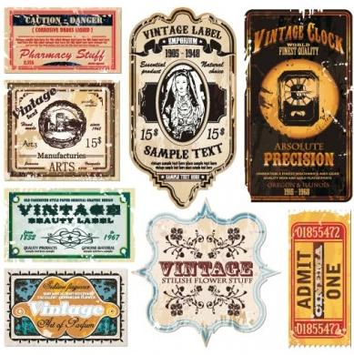 vintage wine label collection 06 vector