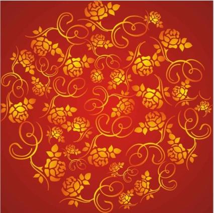 wealth rose pattern background design vector
