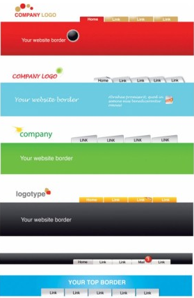 web site header template vector