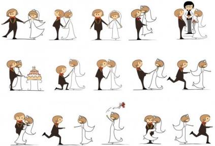 wedding cartoons design vector