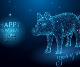 2019 Year of the pig geometric polygon design vector