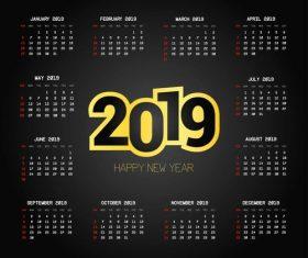 2019 calendar black template vector material