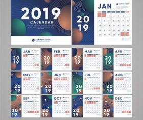 2019 calendar template abstract vector