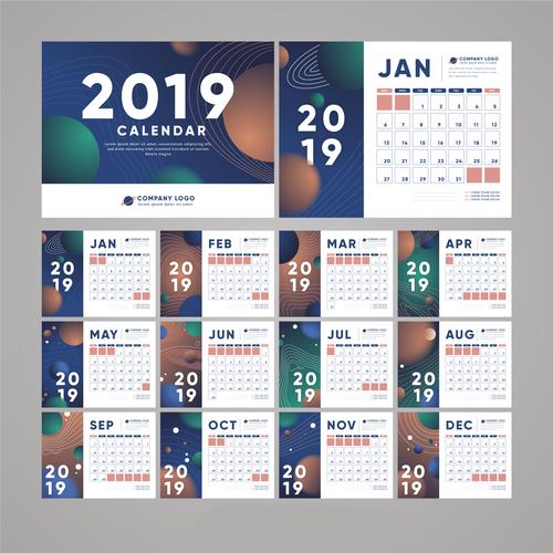 2019 calendar template abstract vector