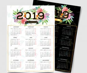 2019 calendar template with flower vector