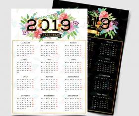 2019 calendar template with flower vector