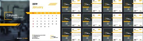 2019 company calendar template with blurs background vector