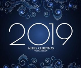 2019 merry christmas and new year blue background vector