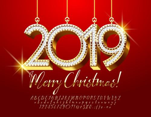 2019 new year Inscription alphabet vector set 01