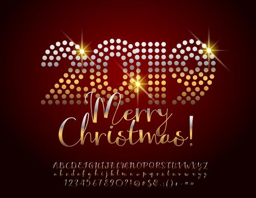 2019 new year Inscription alphabet vector set 02
