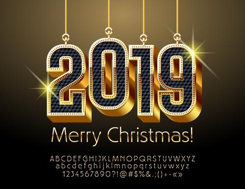 2019 new year Inscription alphabet vector set 04