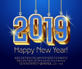 2019 new year Inscription alphabet vector set 05
