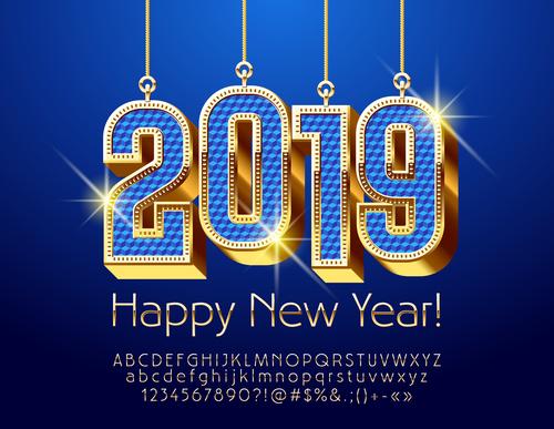 2019 new year Inscription alphabet vector set 05
