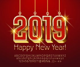 2019 new year Inscription alphabet vector set 06