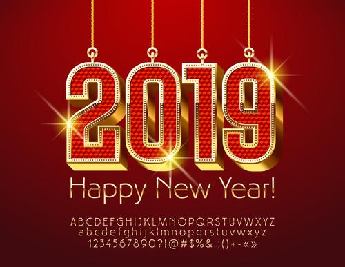 2019 new year Inscription alphabet vector set 06