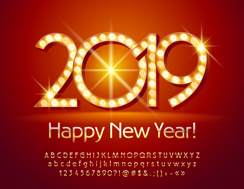 2019 new year Inscription alphabet vector set 07