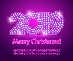 2019 new year Inscription alphabet vector set 09