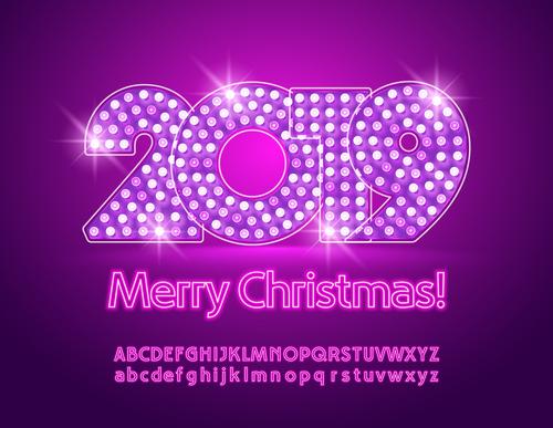 2019 new year Inscription alphabet vector set 09