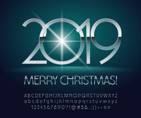 2019 new year Inscription alphabet vector set 10