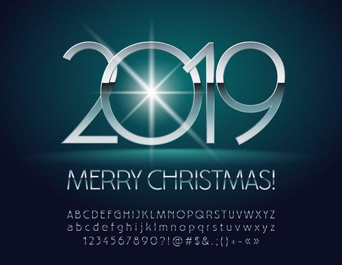 2019 new year Inscription alphabet vector set 10