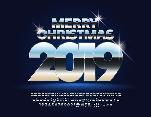 2019 new year Inscription alphabet vector set 11