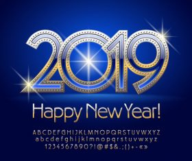 2019 new year Inscription alphabet vector set 12