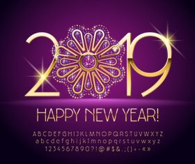 2019 new year Inscription alphabet vector set 13