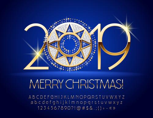 2019 new year Inscription alphabet vector set 14