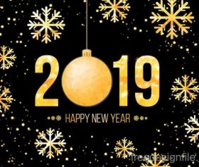 2019 new year background with golden snowflake vector